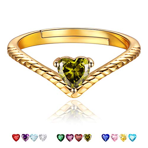 ChicSilver ペリドット ハート 指輪 レディース フリーサイズ 8月 誕生石 リング ゴールド 18金 シンプル v字 アクセサリー