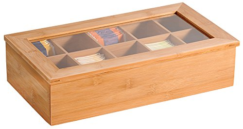 Kesper 5890113 Caja de té, bambú, marrón, 36 x 20 x 9