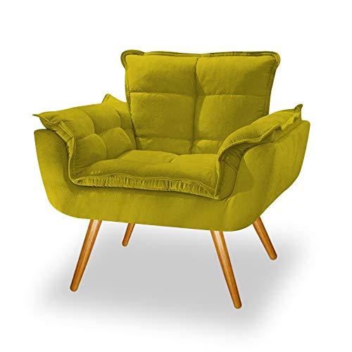 Poltrona Cadeira Decorativa Opala Suede Amarelo Pés Palito para Recepção Sala de Estar Consultório Escritório Quarto - AM Decor