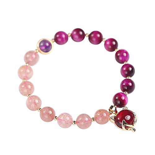 Pulsera de cuentas para mujer, de Twocolor, hecha de cristales morados naturales, cristales de fresa, tamaño ajustable, género