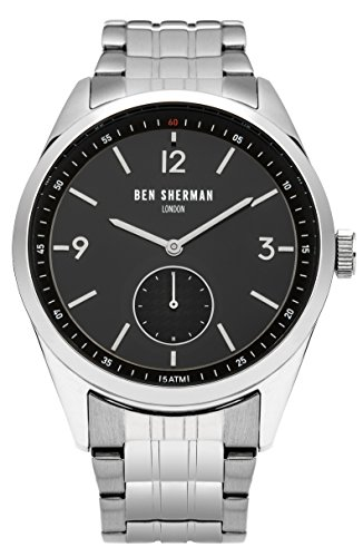Ben Sherman Hombres Reloj De Cuarzo con Negro Esfera Analógica y Plata Pulsera de Acero Inoxidable wb052bsm