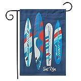12.5 'x 18' Bandiera Giardino Blu Bordo Surf Grafica retrò Vintage Surfista Spiaggia incrociatore all'aperto bifacciale Decorativo Cortile casa Bandiere