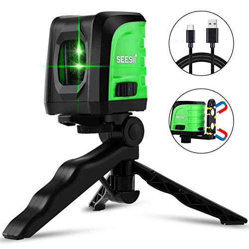 Laser Level Seesii Green Self leveling Laser Level ToolCross Line Laser Level with Horizontal and Vertical Line with Folding TripodUSB Charging Port and Magnetic Base