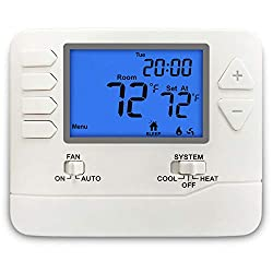 ELECTECK Thermostat, 5-1-1 Day Programmable, Large Digital LCD Display, Compatible with Single Stage Electrical and Gas System, Up to 1 Heat/1 Cool, White