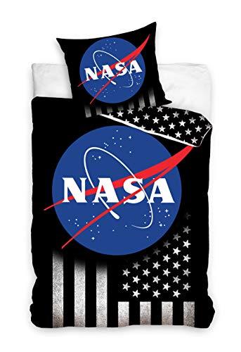 one-home NASA Bettwäsche 135x200 cm Weltall Weltraum USA Flag schwarz Renforce Baumwolle
