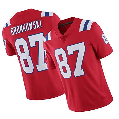WHUI Gronkowski Rugby Jersey 87#, Camisas atléticas para Hombres, Suaves y cómodas, duraderas y fáciles de Limpiar Red-XXL