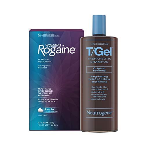 Women's Rogaine 5% Minoxidil Foam Topical Treatment for Hair Regrowth, Thinning and Loss, 4-Month Supply & Neutrogena T/Gel Original Therapeutic Anti-Dandruff Treatment Shampoo, 16 fl. Oz
