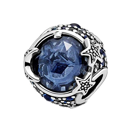 Diy Jewelry Winter 925 Sterling Silver Beads Celestial Blue Sparkling Stars Charm Fit Original Pandora Bracelet Christmas Jewelry
