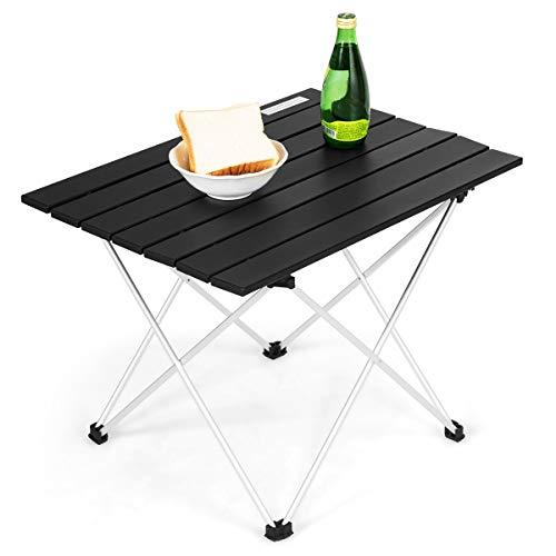 COSTWAY Campingtisch Falttisch Alu, Gartentisch 25kg Tragkraft, Klapptisch mit Tragetasche, Picknick-Tisch für Outdoor, Wandern und Grillen (Schwarz, 56x41x41cm)