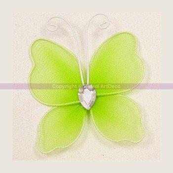 HOBI Lot de 6 Papillons en Tulle Vert Clair et Armature, Strass au Centre, 5 x 6 cm