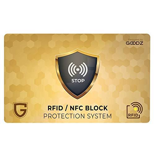 GOODZ Protezione RFID per Carte di Credito Contactless Passaporto E Documento Identità Utile Per Portafoglio Uomo E Donna O Come Regalo Rfid Blocking Porta Carte Di Credito (1 Carta)