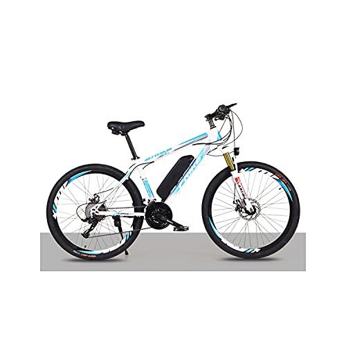 """Bedroom Elektrisches Mountainbike 26\""""250w Elektrisches Fahrrad Mit 36v 8ah Abnehmbare Lithiumbatterie, 21-Gang-Getriebe, 35 Km/H, Ladekilometer Bis 35-50km(Color:blau+weiß)"""