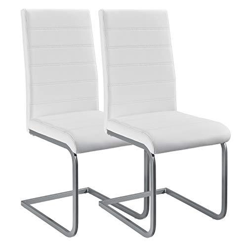 ArtLife Freischwinger Stuhl Vegas 2er Set | Kunstleder Bezug + Metall Gestell | 120 kg belastbar | weiß | Esszimmerstühle Schwingstühle