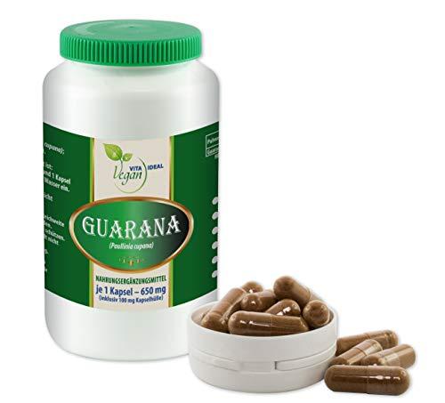 VITAIDEAL VEGAN® Guarana 120 pflanzliche Kapseln je 450mg, rein natürlich ohne Zusatzstoffe.