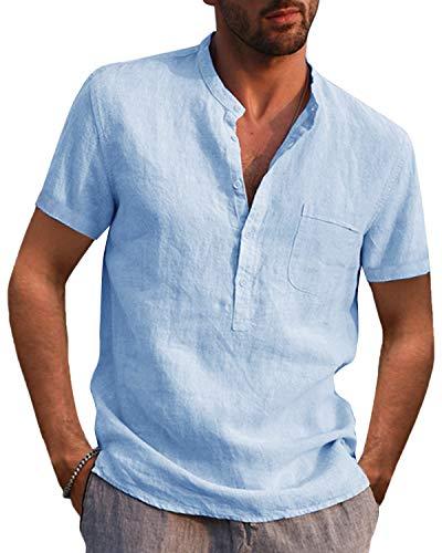 AUDATE Camisa de algodón de lino para hombre, para otoño e invierno, de manga larga, corte regular, para tiempo libre 01-azul claro XL