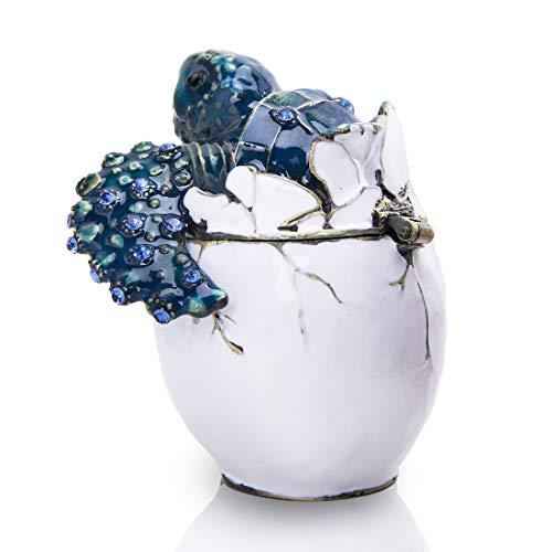 YU FENG Schmuckkästchen im Vintage-Stil mit Meeresschildkröte, Kristallglas, mit Scharnier, für Schmuck und Andenken