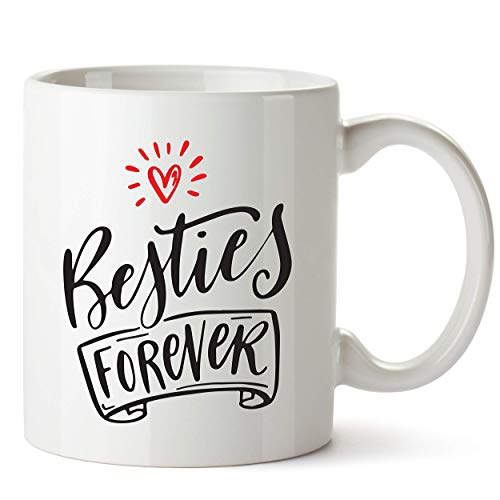 Besties Forever Coffee Mug for Best-Friend - Birthday Gifts for Best Friend Woman Best Friends Female Sister - Cute Coffee Cup Gift Ideas for Bestfriend BFF Sisters - Friendship Gifts for Women