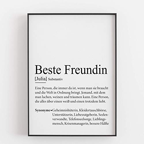 Freundin Geschenk Geburtstagsgeschenk personalisiert Beste Freundin Defintion Kunstdruck persönlich - ungerahmt