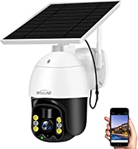 Solar Security Camera Outdoor Wireless WiFi,WooLink 3MP Solar Powered Surveillance Camera for Home System with Color Night Vision,Two Way Audio,Motion Detection and Cloud Storage (TF Card not Include)