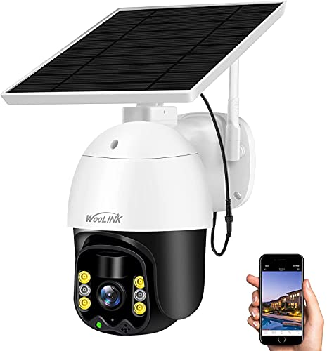 Solar Security Camera Outdoor Wireless WiFi,WooLink 3MP Solar Powered Home IP Camera Surveillance Cameras with Color Night Vision,Two Way Audio,Motion Detection and Cloud Storage (TF Card not Include)