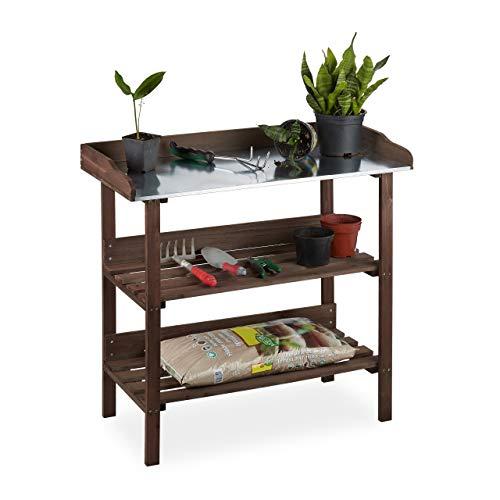 Relaxdays plantentafel, tuintafel met 3 niveaus, broeikas, tuin, balkon & terras, hout, 86x92x42 cm, donkerbruin