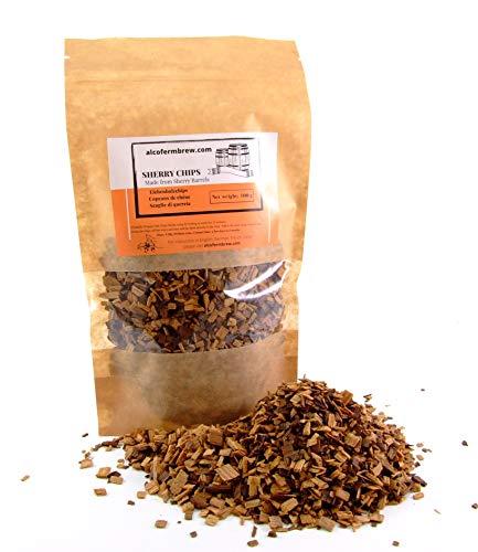 AlcoFermBrew VIRUTAS DE Roble DE Jerez 100 g - de barriles de Jerez (Oloroso) - para Dar Sabor al Whisky, Vino, Cerveza, luz de Luna - para elaboración casera y vinicultura