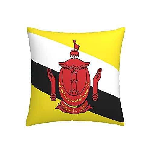 Kissenbezug mit Flagge von Brunei, quadratisch, dekorativer Kissenbezug für Sofa, Couch, Zuhause, Schlafzimmer, drinnen & draußen, niedlicher Kissenbezug 45,7 x 45,7 cm