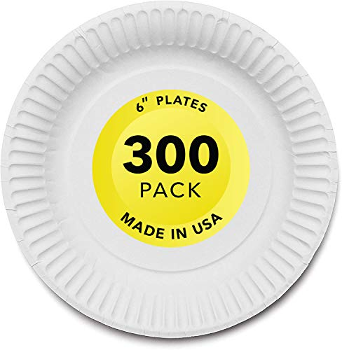 Stock Your Home 6-Inch Paper Plates Uncoated, Everyday Disposable Dessert Plates 6' Paper Plate Bulk, White, 300 Count…