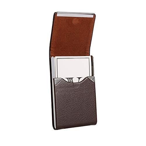 dorisdoll Visitenkarten Etuis Kreditkartenhüllen PU Leder Edelstahl mit Magnet RFID-Blockierung Visitenkartenhalter für Damen und Herren 20 Karten Kapazität (Dunkelbraun)