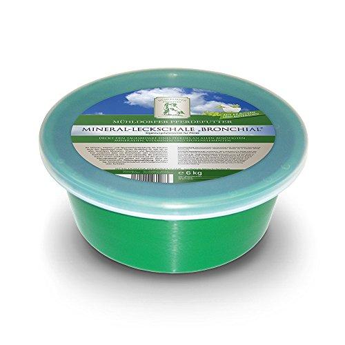 Mühldorfer Mineral-Leckschale Bronchial, 6 kg, wohltuend und befreiend, vitalstoffreich, in verschließbarer Schale, Ergänzungsfutter für Pferde und Ponys