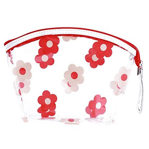 DYSCN Portable Transparent PVC Maquillage Sac Zipper Étanche Fleurs Motif Cosmétiques Sac Transparent Voyage De Stockage Transporter Pochette pour Voyage, Rouge