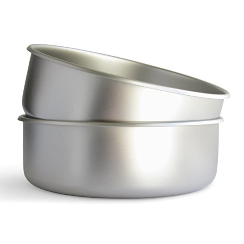 Basis Pet Made in The USA Stainless Steel Dog Bowl, Extra Large (18 Cups), 2 Pack