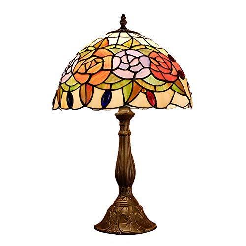 DALUXE Tiffany Lámpara de Mesa 12 Pulgadas, vidrieras Oficina Pink Lámparas de Noche Patrones Patrones Tiro Mano Salón