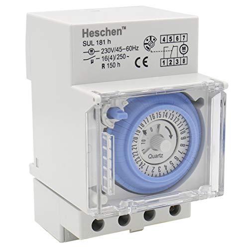 heschen sul 181H temporizador 230V 45–60Hz 24horas 35mm DIN Rail