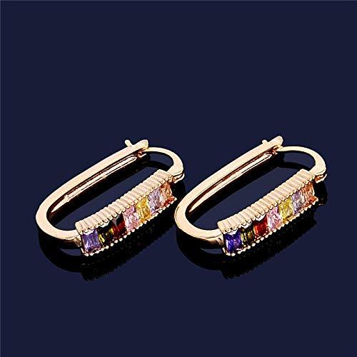 WMYATING Los pendientes son de moda y hermosos, los pendientes de aro Erin de 2 colores de joyería de moda de color dorado multicolor y circonitas cúbicas exquisitas para mujer.