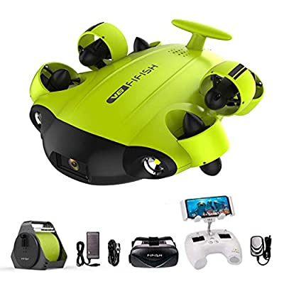 XIAOKEKE Underwater Drone Submarine Camera Fifish V6 by QYSEA Wide Angle 162?6 Movement Directions 4K UHD 12 Mp 100 Meters Depth Cable VR Glasses 64GB Video Recording Photo Fishing Underwater World