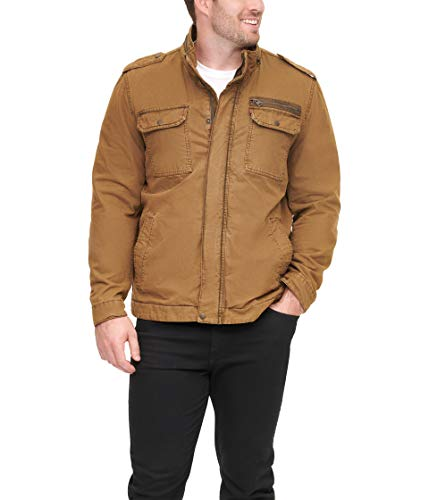 Levi's Men's Washed Cotton Military Jacket, Worker Brown, Large
