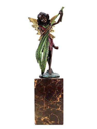 Kunst & Ambiente–Elfos Figura de Bronce–Marfil con Helecho–Hojas de Estilo Juvenil–Firmado Milo–Bronce en Marfil mármol Socket–Figuras Decorativa Online Comprar