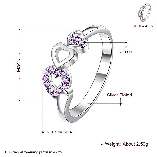 Mode Zilveren Sieraden Elegant Hart met Hart Rode Zirkonia Ring paars, 8