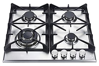 "K&H 4 Burner 24"" Built-in LPG Gas Stainless Steel Cast Iron Cooktop 4-24-SSW-LPG"