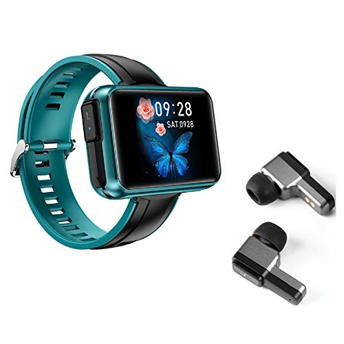 Smart Watch & TWS Bluetooth Earbud 2 en 1 Fitness Sports Pulsera Bluetooth 5.0 Clima Smartwatch Frecuencia Cardíaca Presión arterial Rastreador de Fitness Combo Running Music Pulsera (verde)