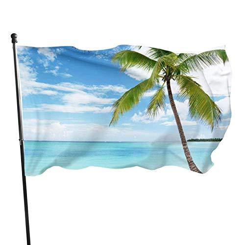Bandera de jardín, palmera sobre azul mar, océano, océano, color vivo y resistente a los rayos UV, doble costura para patio, bandera de temporada, banderas de pared de 3 x 5 pies