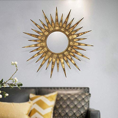Cakunmik Estrella estallado Espejo decoración de Pared, Sol Sol ráfaga Pared Espejo marrón Oro decoración de Pared Artesanal Espejo montable Espejo Espejo Decorativo en la Pared del Restaurante