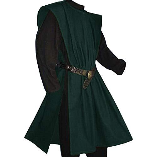 Fueri Disfraz de caballero medieval para hombre, túnica de carnaval, falda de arma, disfraz de caballero, estilo victoriano, sin cinturón