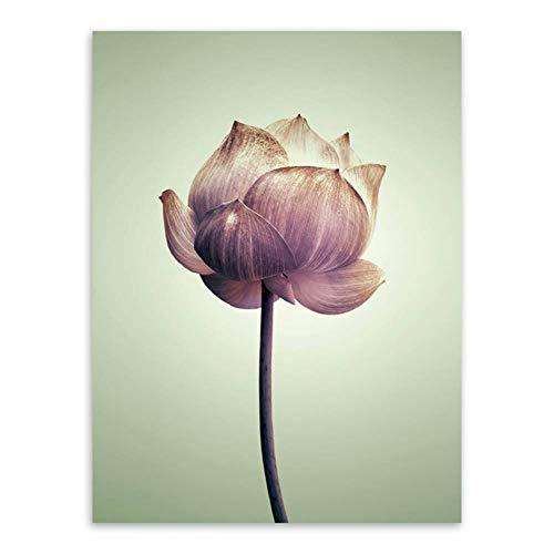 HYLBH Wandbild Triptychon Modernen Minimalistischen Lila Lotus Vintage Style A4 Blume Kunstdrucke Poster Natur Wandbild Leinwand Malerei Wohnkultur
