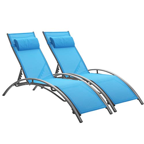2 PC Outdoor Patio Adjustable Chaise Lounge Set,Backrest Sun Recliner Chair Lounger with Lightweight Frame for Beach Pool and Yard
