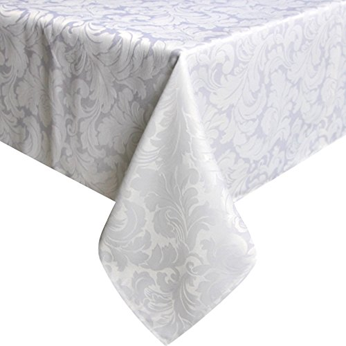ColorBird Scroll Damask Jacquard Tablecloth Polyester Fabric Water Resistant Spillproof Table Cover for Kitchen Dinning Wedding Banquet Party Tabletop Use (Rectangle/Oblong, 60 x 84 Inch, White)
