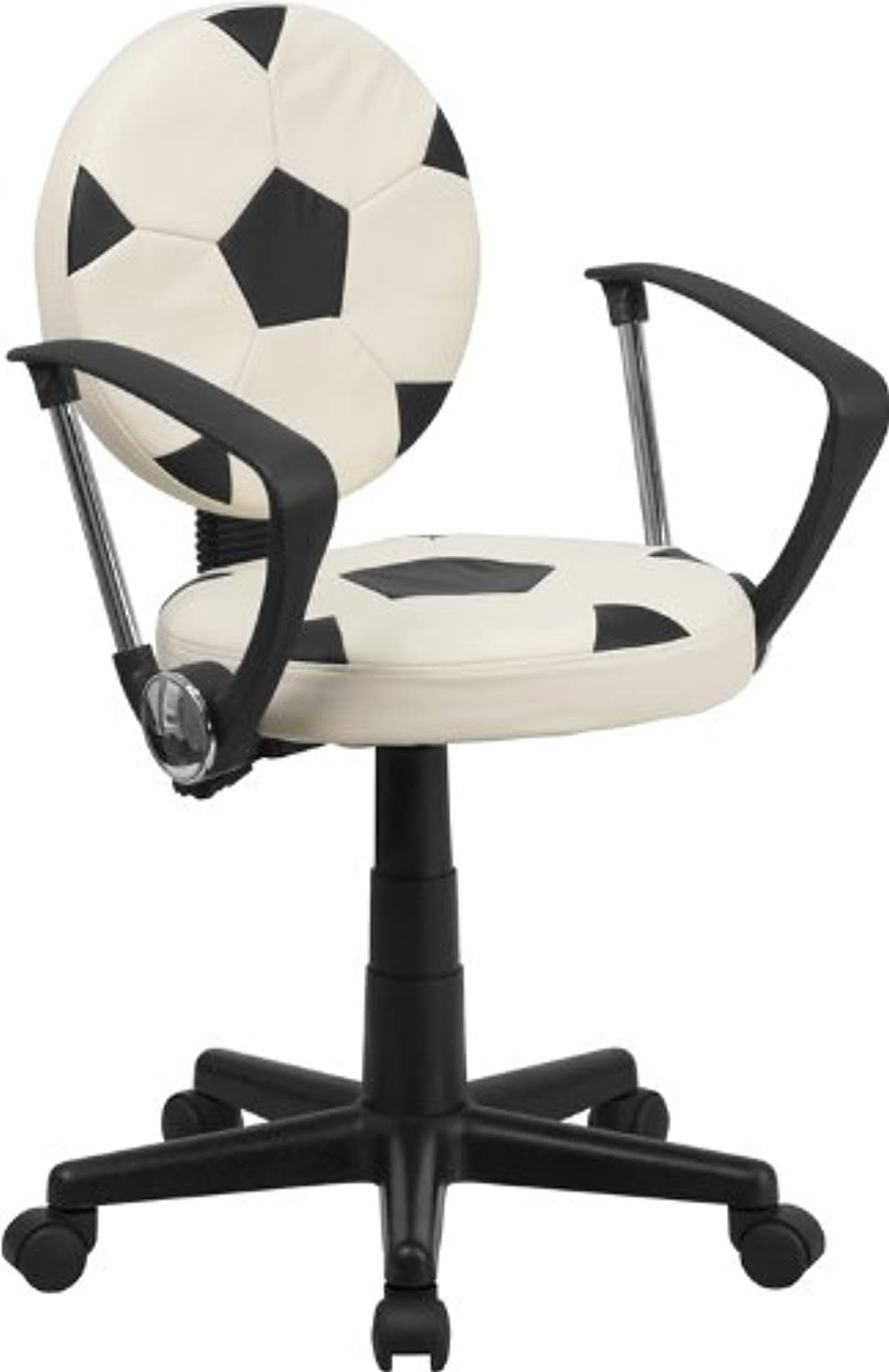 Flash Furniture BT-6177-SOC-A-GG Soccer Task Chair with Arms, Black White