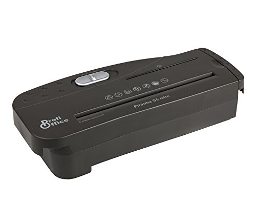 ProfiOffice® Aktenvernichter Piranha S 5 Mini, 5 Blatt, 7.2 mm Streifenschnitt, CDs (91920)