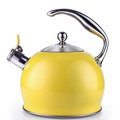 susteas Pfeifkessel aus Edelstahl, Teekessel für Herd, Edelstahl Wasserkessel/Teekanne, 1 gratis Silikon-Handschuh im Lieferumfang enthalten, 3L (Gelb)